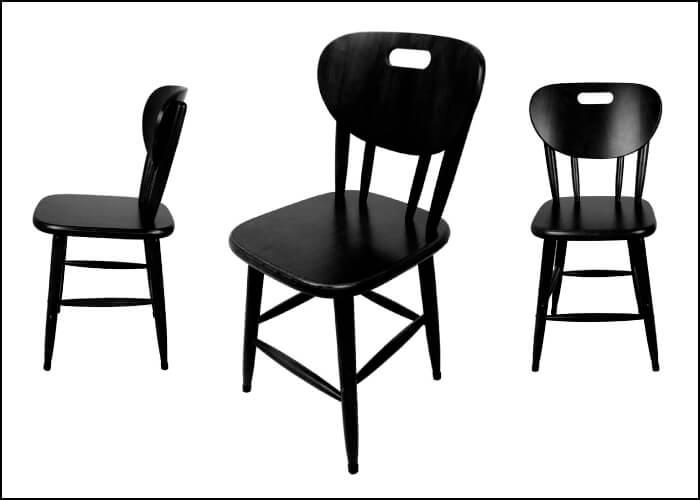fotografia de uma cadeira com 3 posições diferentes